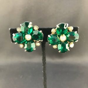 Vintage large green stone clip earrings